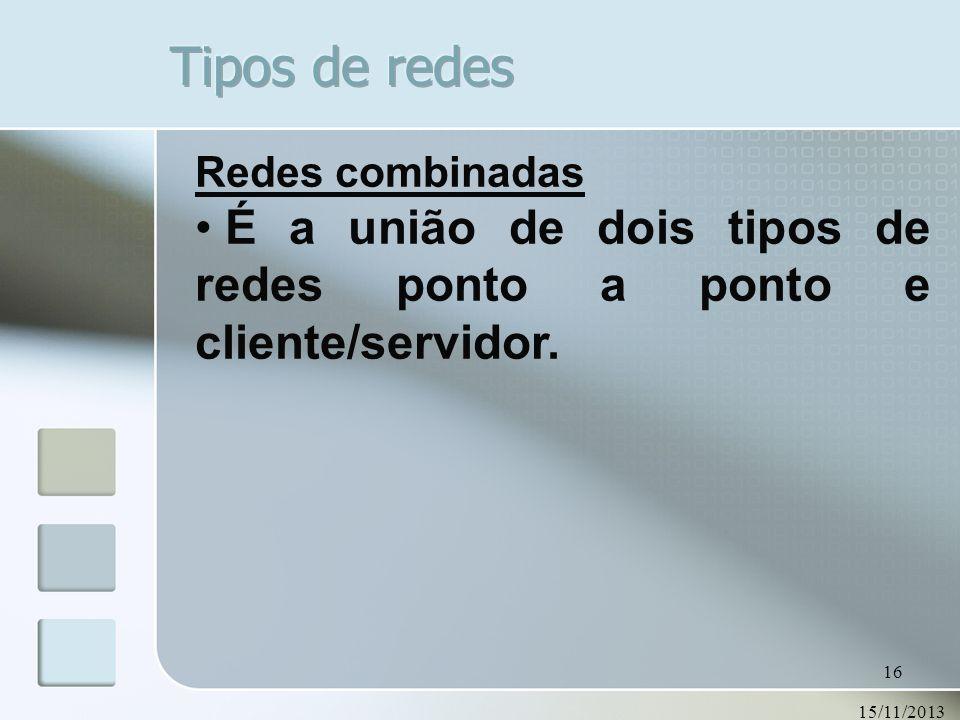 Tipos de redesRedes combinadas.É a união de dois tipos de redes ponto a ponto e cliente/servidor.