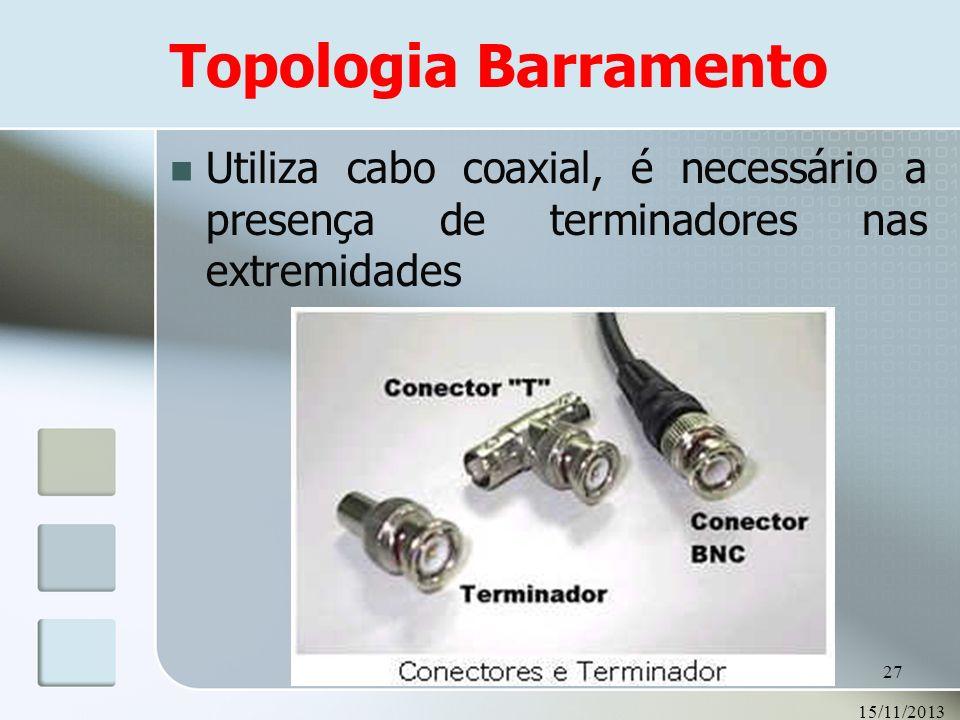 Topologia Barramento Utiliza cabo coaxial, é necessário a presença de terminadores nas extremidades.