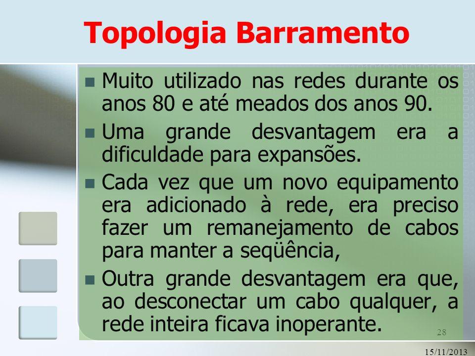 Topologia BarramentoMuito utilizado nas redes durante os anos 80 e até meados dos anos 90. Uma grande desvantagem era a dificuldade para expansões.
