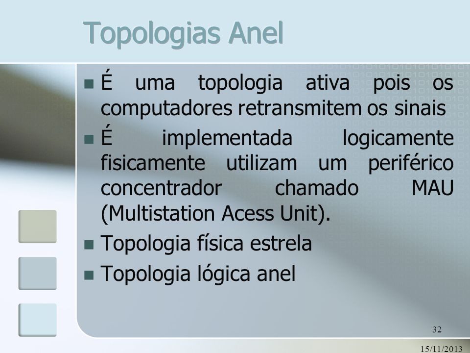 Topologias Anel É uma topologia ativa pois os computadores retransmitem os sinais.