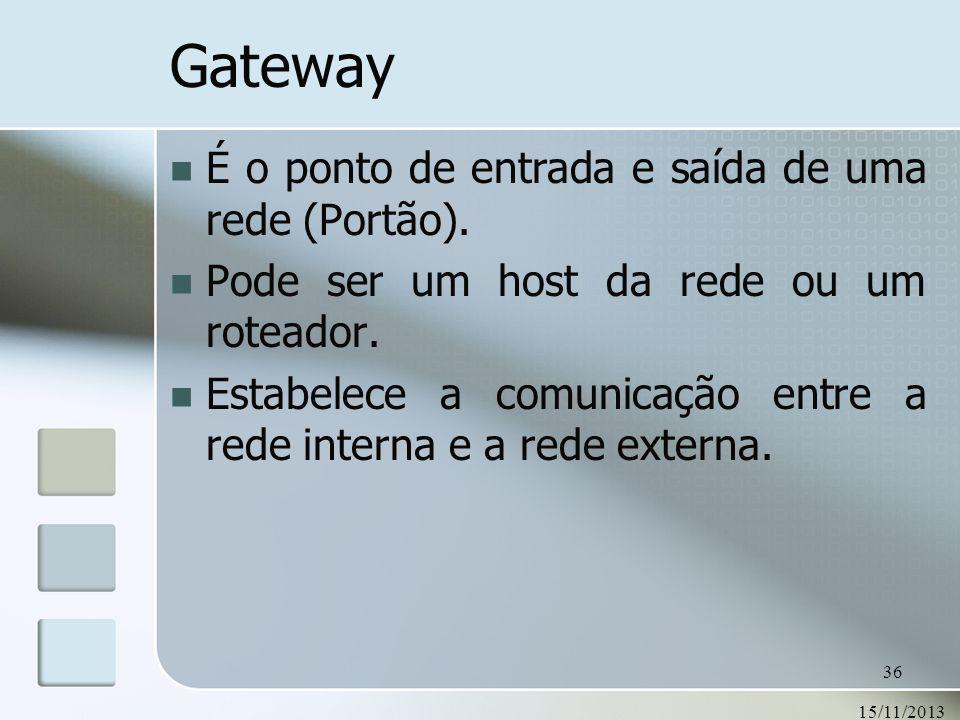 Gateway É o ponto de entrada e saída de uma rede (Portão).