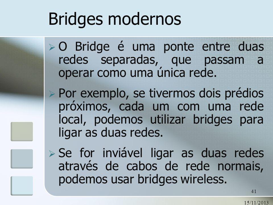 Bridges modernosO Bridge é uma ponte entre duas redes separadas, que passam a operar como uma única rede.