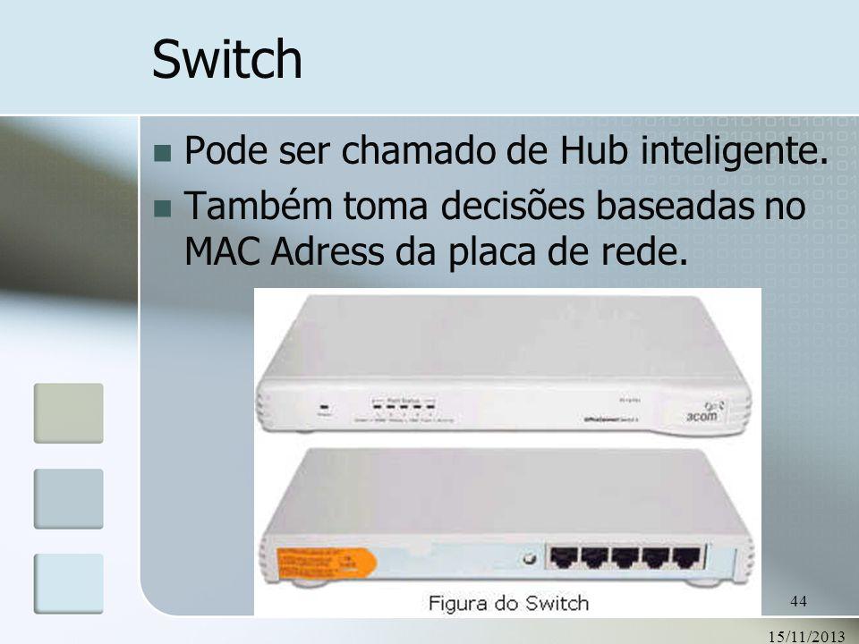 Switch Pode ser chamado de Hub inteligente.