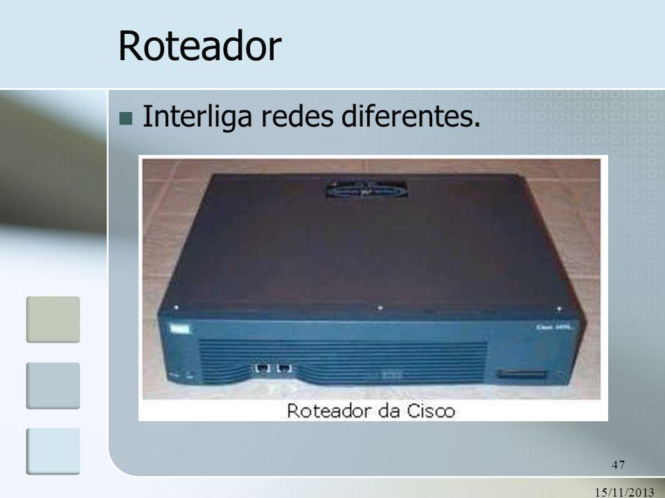 Roteador Interliga redes diferentes. 23/03/2017