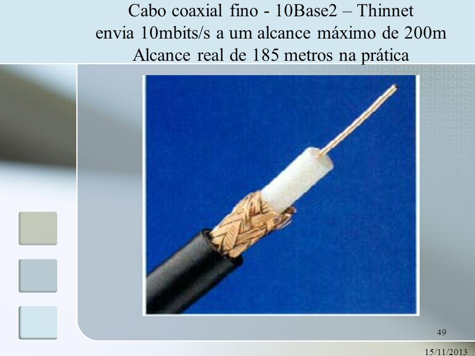 Cabo coaxial fino - 10Base2 – Thinnet envia 10mbits/s a um alcance máximo de 200m Alcance real de 185 metros na prática
