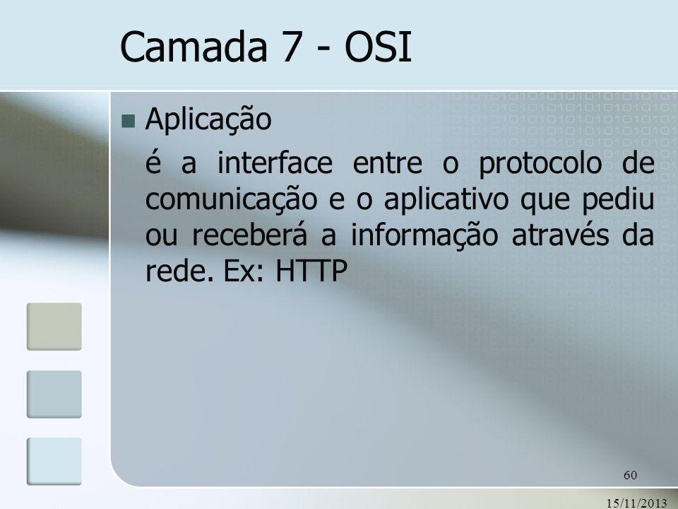 Camada 7 - OSIAplicação. é a interface entre o protocolo de comunicação e o aplicativo que pediu ou receberá a informação através da rede. Ex: HTTP.