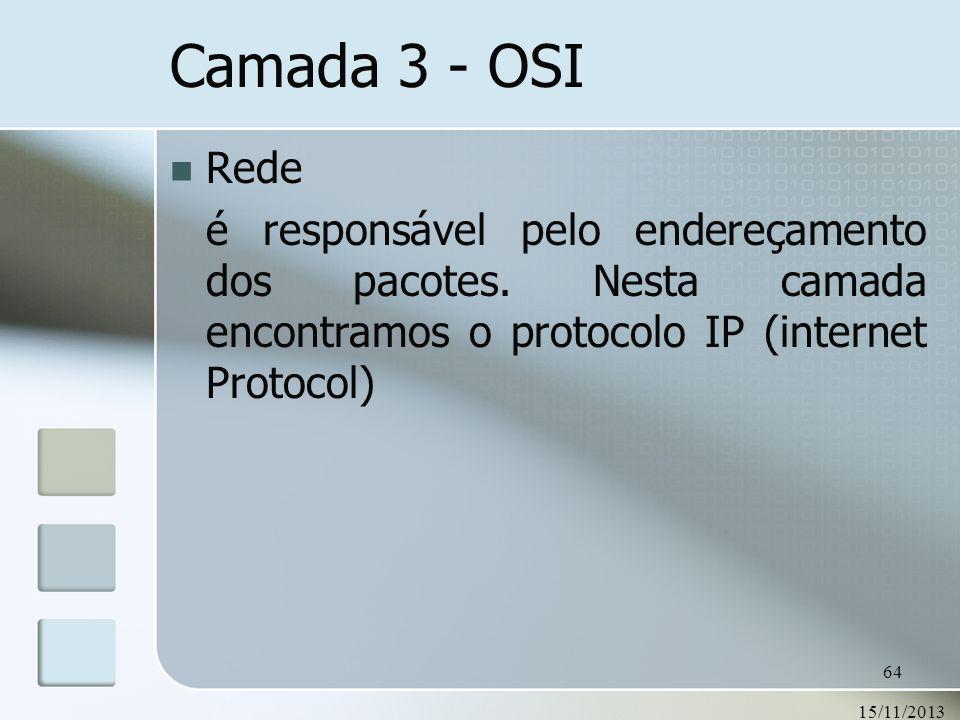 Camada 3 - OSI Rede. é responsável pelo endereçamento dos pacotes. Nesta camada encontramos o protocolo IP (internet Protocol)