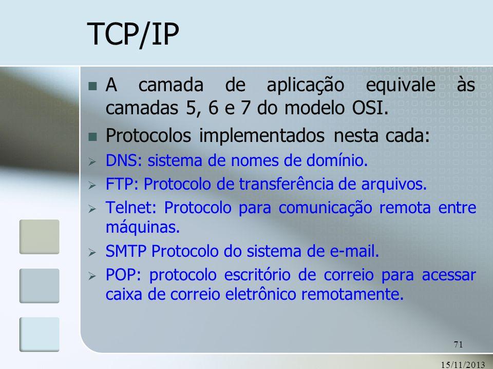 TCP/IP A camada de aplicação equivale às camadas 5, 6 e 7 do modelo OSI. Protocolos implementados nesta cada: