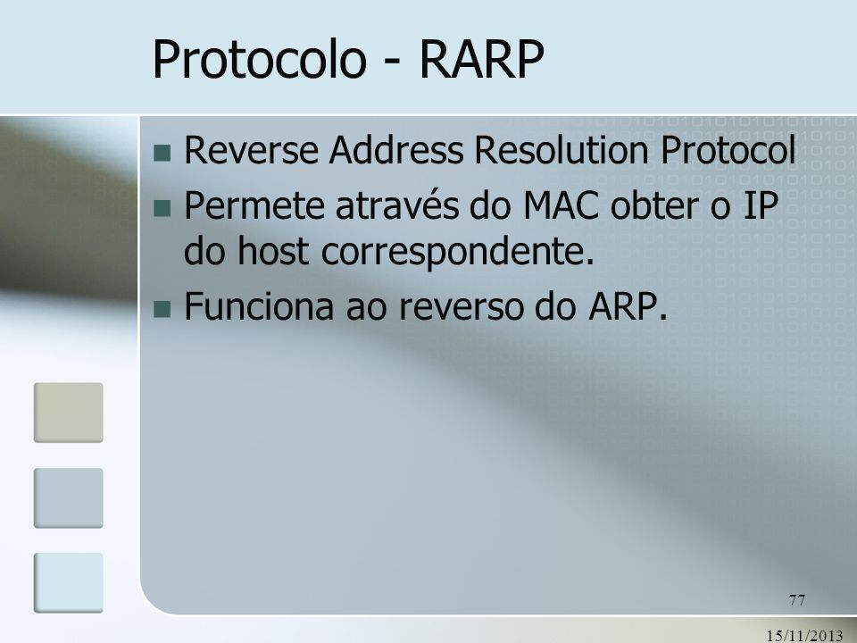 Protocolo - RARP Reverse Address Resolution Protocol