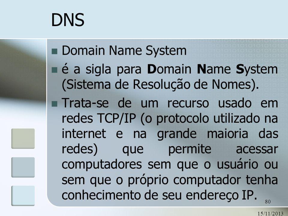 DNS Domain Name System. é a sigla para Domain Name System (Sistema de Resolução de Nomes).