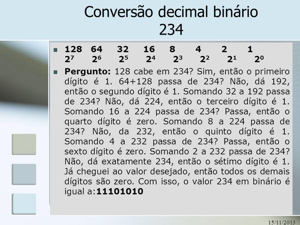 Conversão decimal binário 234