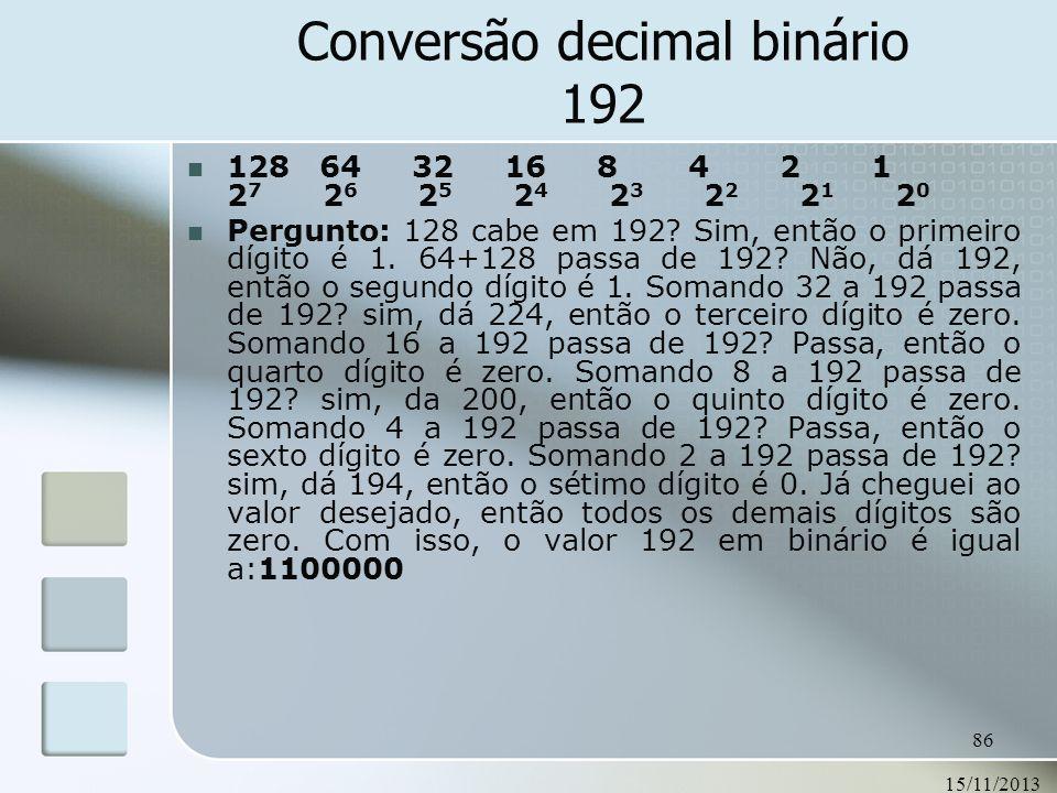 Conversão decimal binário 192