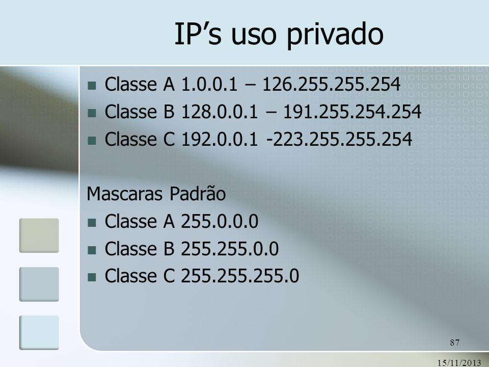 IP's uso privado Classe A 1.0.0.1 – 126.255.255.254