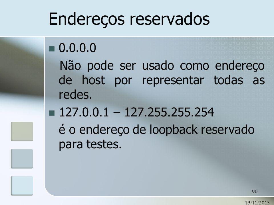 Endereços reservados0.0.0.0. Não pode ser usado como endereço de host por representar todas as redes.