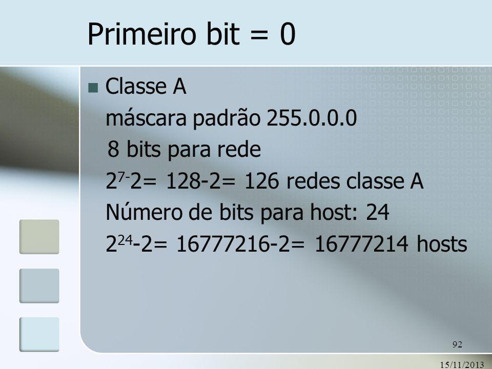 Primeiro bit = 0 Classe A máscara padrão 255.0.0.0 8 bits para rede