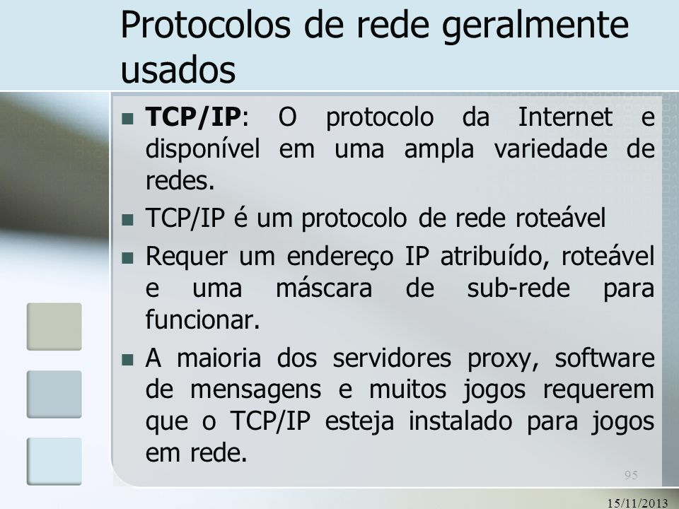 Protocolos de rede geralmente usados