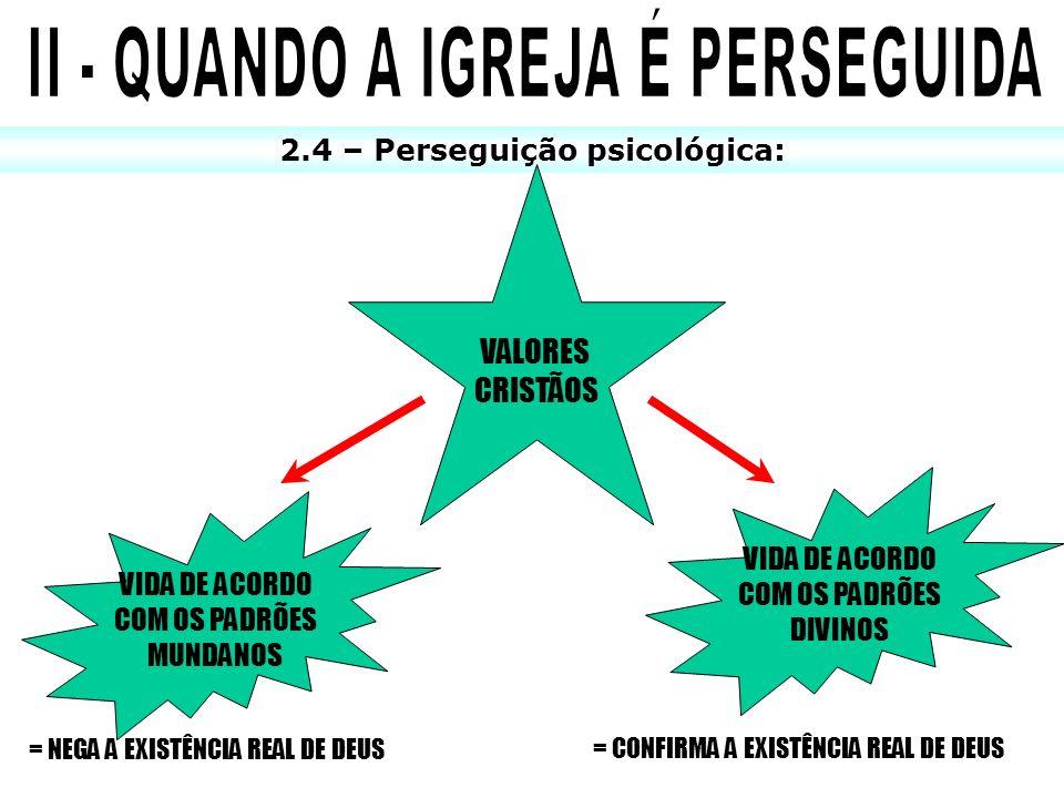II - QUANDO A IGREJA É PERSEGUIDA 2.4 – Perseguição psicológica: