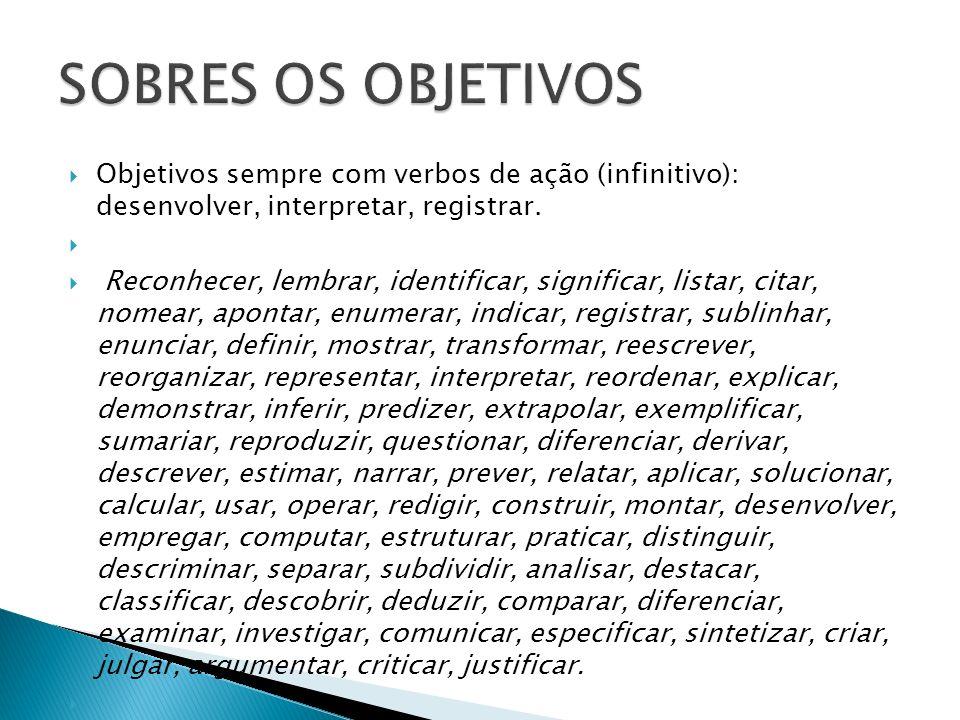 SOBRES OS OBJETIVOS Objetivos sempre com verbos de ação (infinitivo): desenvolver, interpretar, registrar.