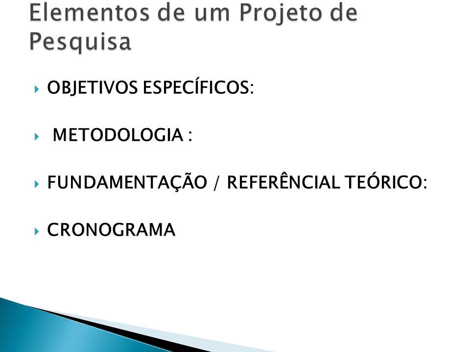 Elementos de um Projeto de Pesquisa