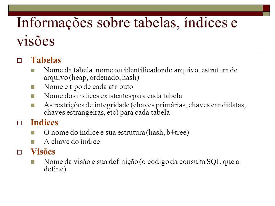 Informações sobre tabelas, índices e visões