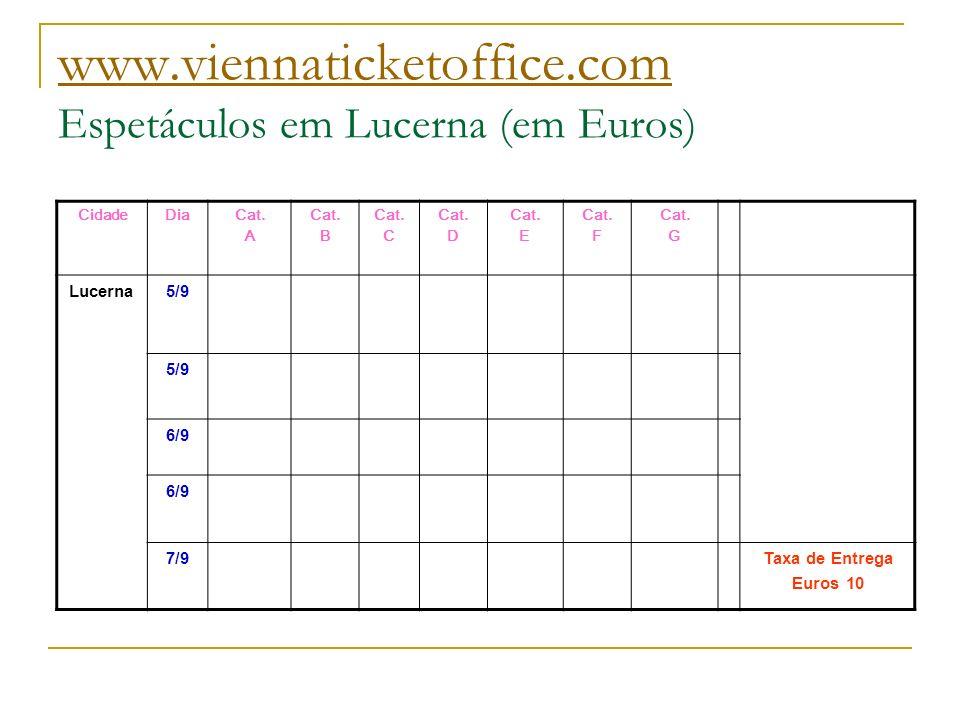 www.viennaticketoffice.com Espetáculos em Lucerna (em Euros)