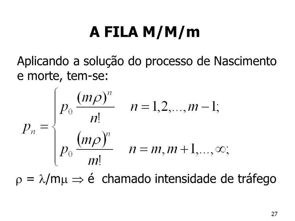 A FILA M/M/m Aplicando a solução do processo de Nascimento e morte, tem-se:  = /m  é chamado intensidade de tráfego.