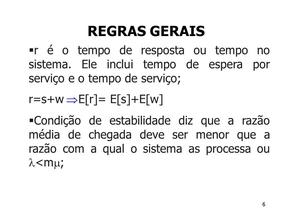 REGRAS GERAIS r é o tempo de resposta ou tempo no sistema. Ele inclui tempo de espera por serviço e o tempo de serviço;