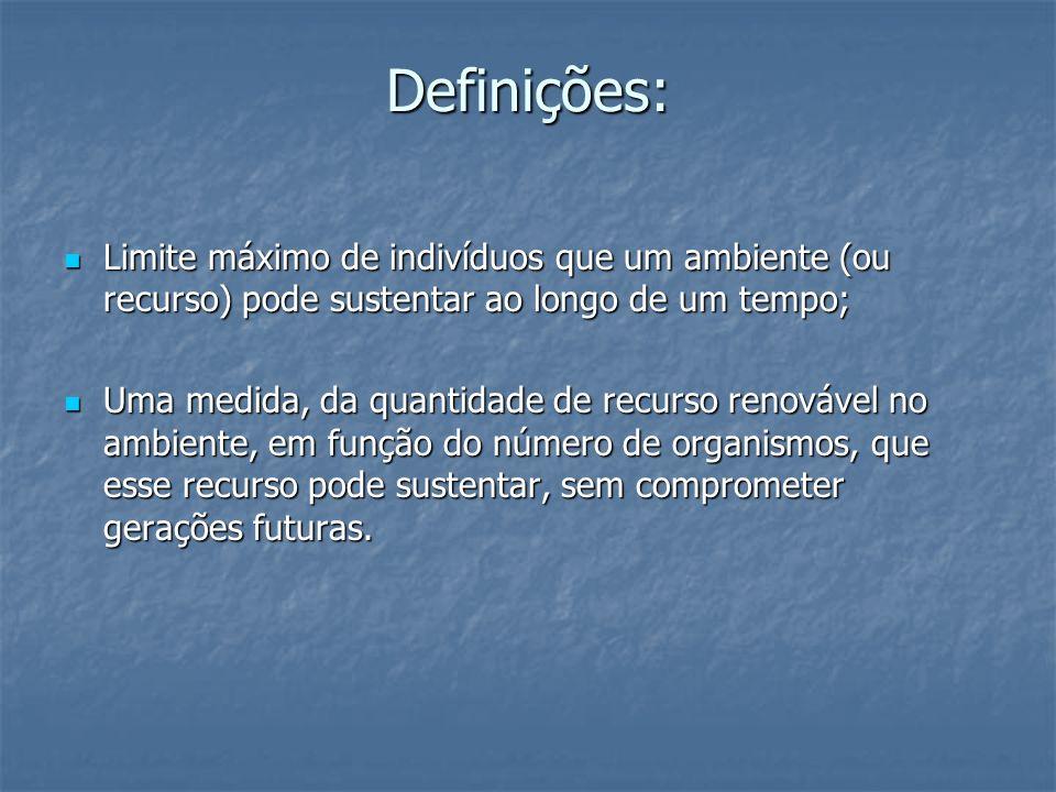 Definições:Limite máximo de indivíduos que um ambiente (ou recurso) pode sustentar ao longo de um tempo;