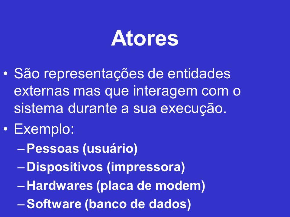 Atores São representações de entidades externas mas que interagem com o sistema durante a sua execução.