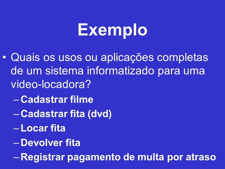 Exemplo Quais os usos ou aplicações completas de um sistema informatizado para uma video-locadora Cadastrar filme.