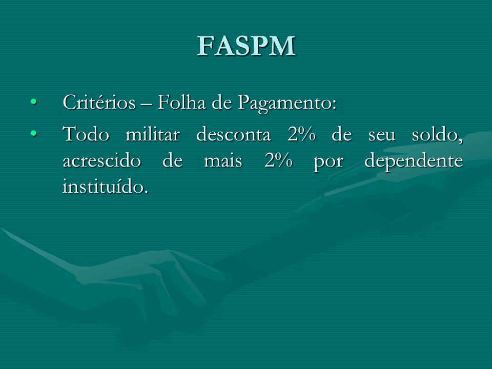 FASPM Critérios – Folha de Pagamento: