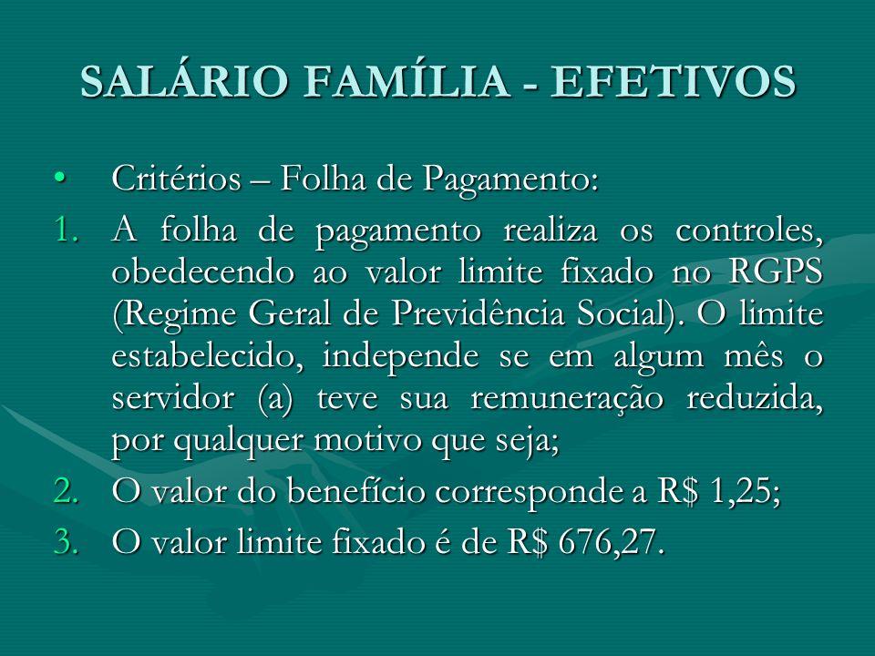 SALÁRIO FAMÍLIA - EFETIVOS