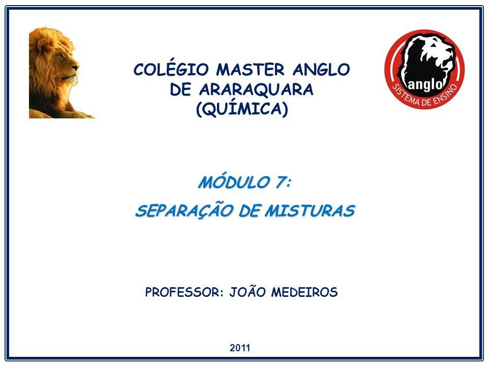 COLÉGIO MASTER ANGLO DE ARARAQUARA (QUÍMICA) PROFESSOR: JOÃO MEDEIROS