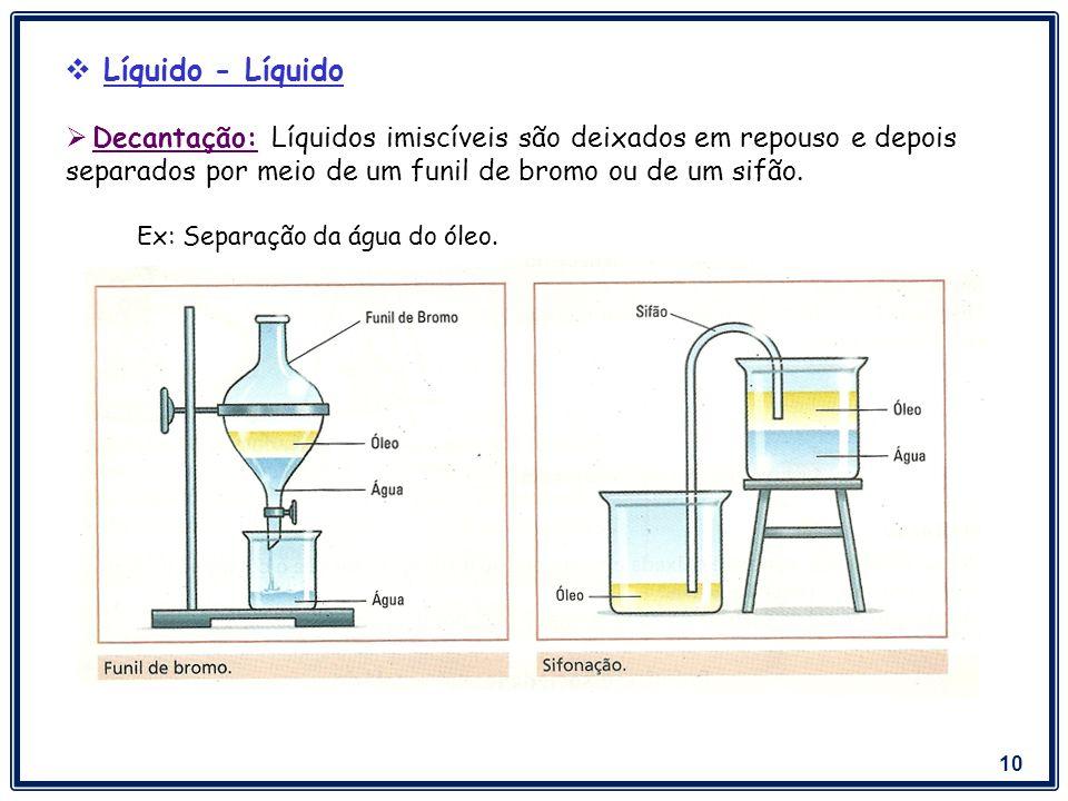 Líquido - Líquido Decantação: Líquidos imiscíveis são deixados em repouso e depois separados por meio de um funil de bromo ou de um sifão.