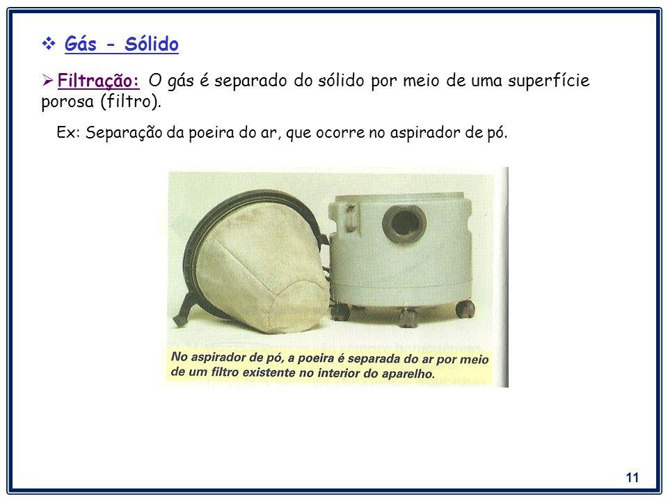 Gás - Sólido Filtração: O gás é separado do sólido por meio de uma superfície porosa (filtro).