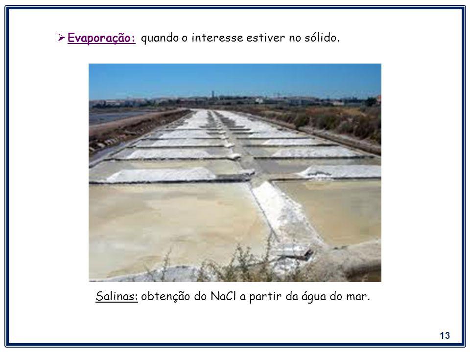 Salinas: obtenção do NaCl a partir da água do mar.