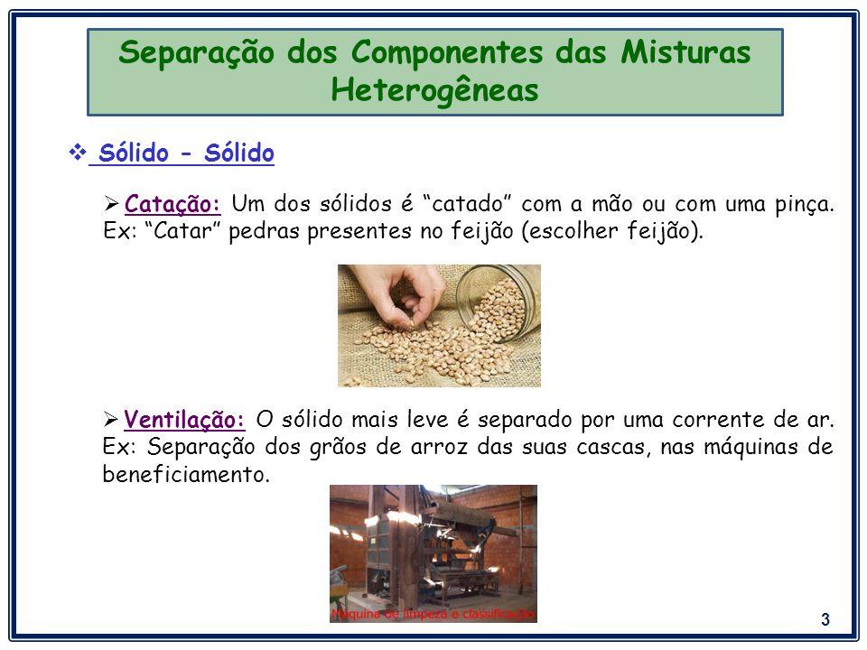 Separação dos Componentes das Misturas Heterogêneas