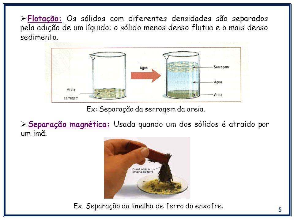 Separação magnética: Usada quando um dos sólidos é atraído por um imã.