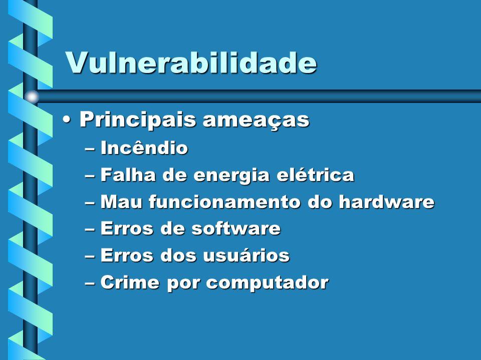 Vulnerabilidade Principais ameaças Incêndio Falha de energia elétrica