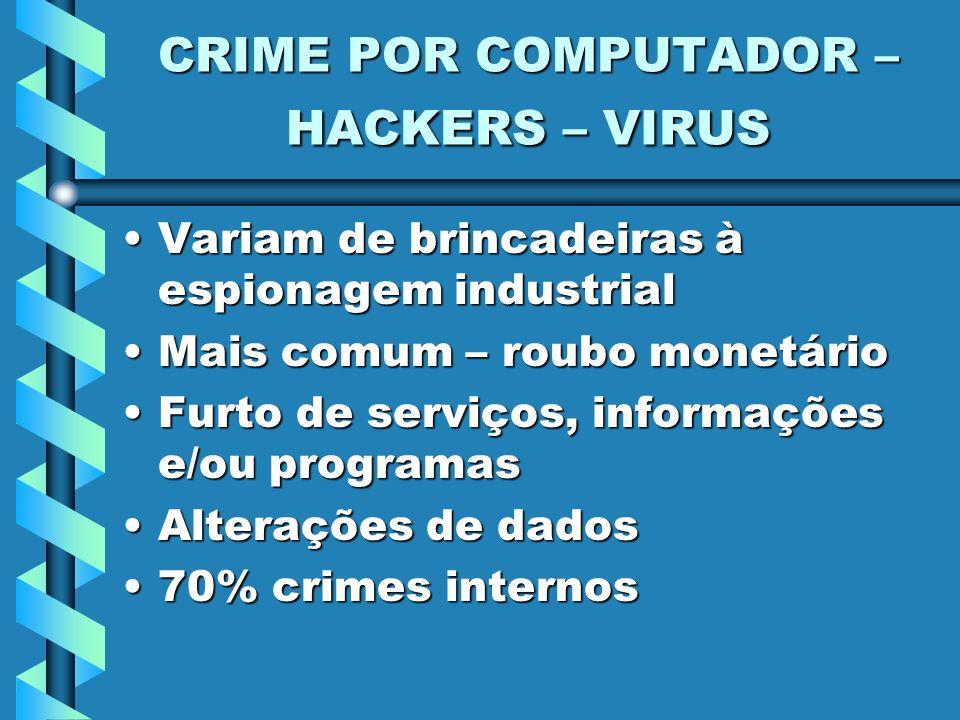 CRIME POR COMPUTADOR – HACKERS – VIRUS