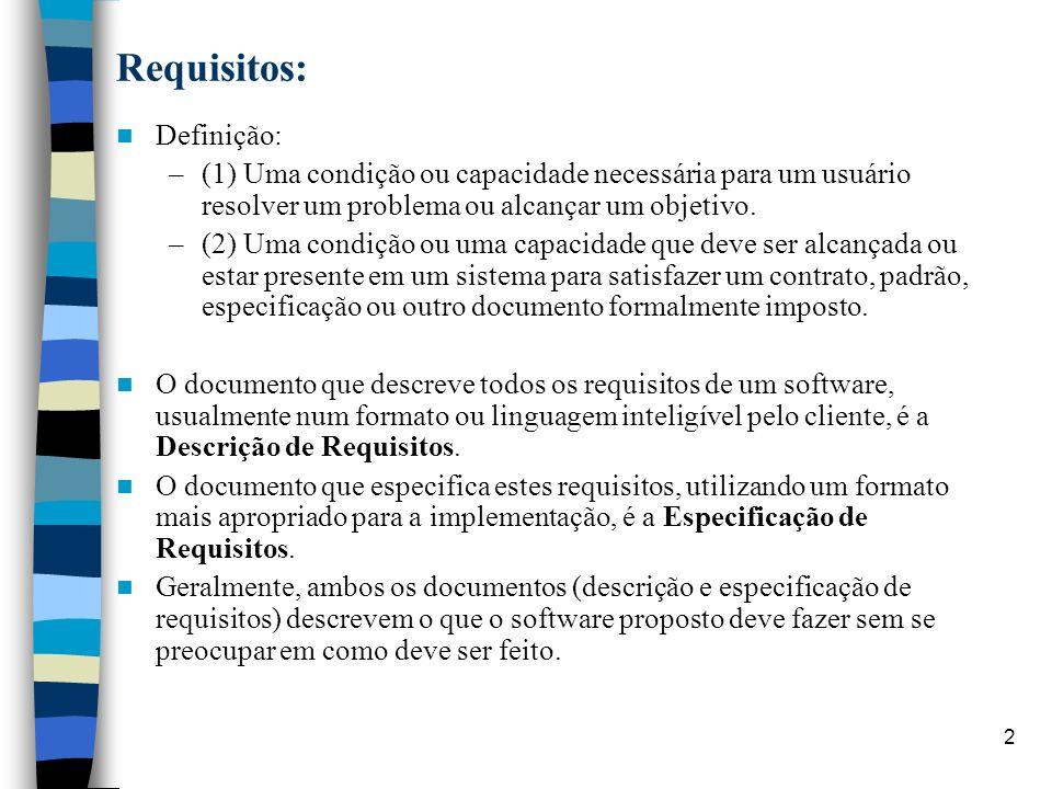 Requisitos: Definição:
