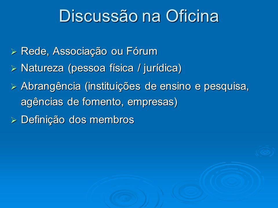 Discussão na Oficina Rede, Associação ou Fórum