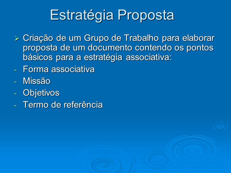 Estratégia Proposta Criação de um Grupo de Trabalho para elaborar proposta de um documento contendo os pontos básicos para a estratégia associativa: