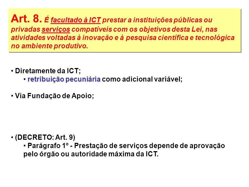 Art. 8. É facultado à ICT prestar a instituições públicas ou privadas serviços compatíveis com os objetivos desta Lei, nas atividades voltadas à inovação e à pesquisa científica e tecnológica no ambiente produtivo.