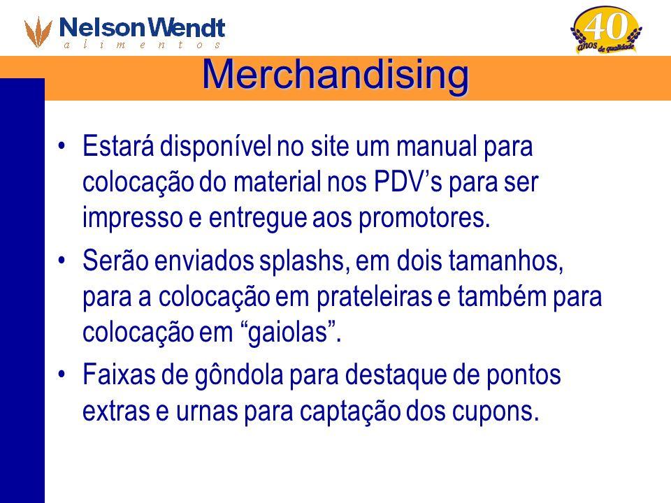 Merchandising Estará disponível no site um manual para colocação do material nos PDV's para ser impresso e entregue aos promotores.