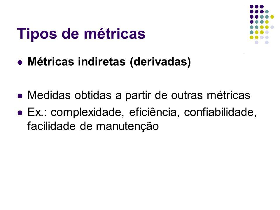 Tipos de métricas Métricas indiretas (derivadas)