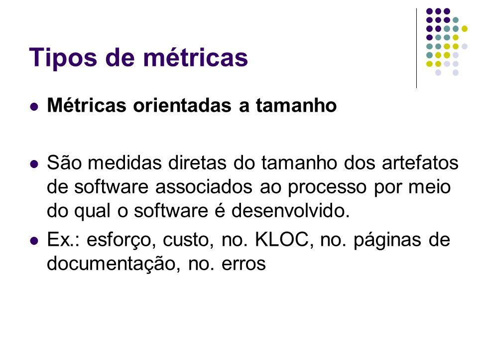 Tipos de métricas Métricas orientadas a tamanho