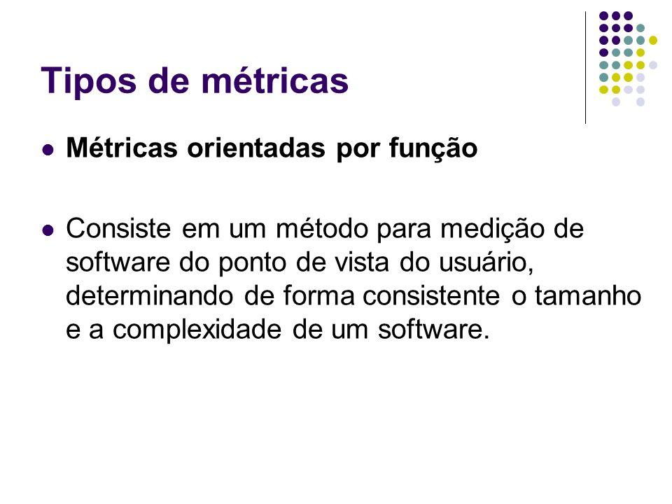 Tipos de métricas Métricas orientadas por função