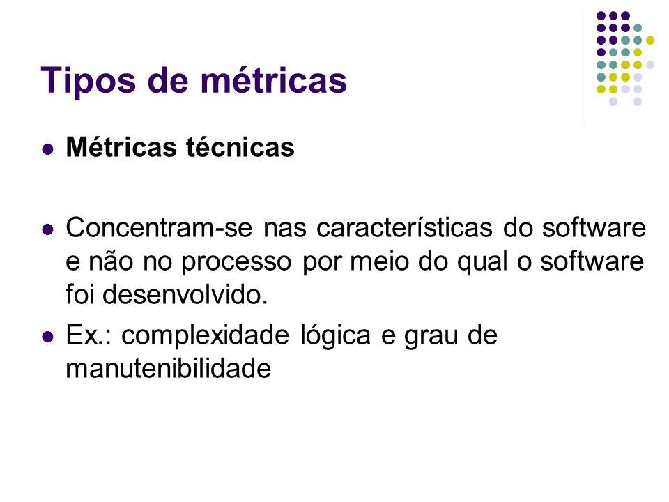 Tipos de métricas Métricas técnicas