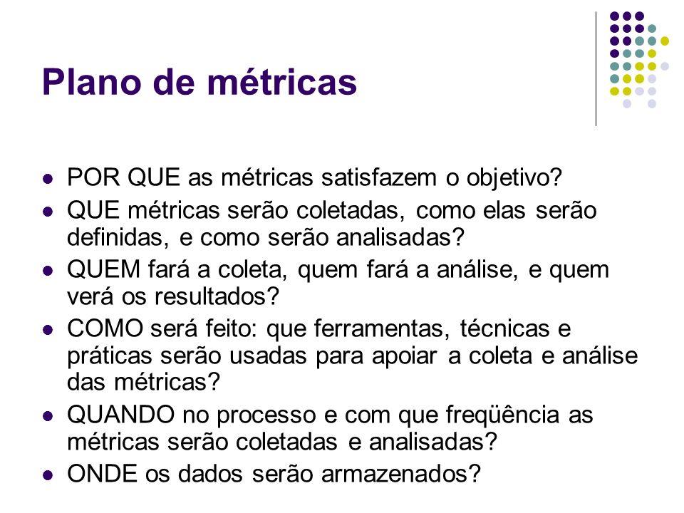 Plano de métricas POR QUE as métricas satisfazem o objetivo